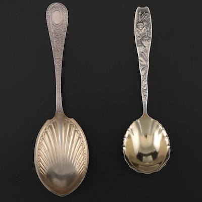 """Whiting Mfg. Co. """"Laureate"""" and """"Berry"""" Sterling Spoons, Late 19th/Early 20th C."""