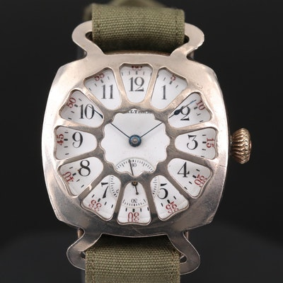 Antique Waltham Sterling Silver Trench Watch, 1912