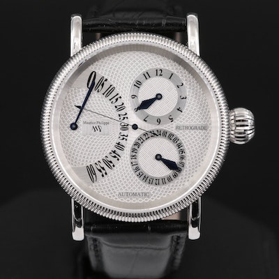 Maurice Philippe Retrograde Stainless Steel Automatic Wristwatch