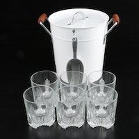 Metal Ice Bucket with Italian Molded Glass Rocks Glasses