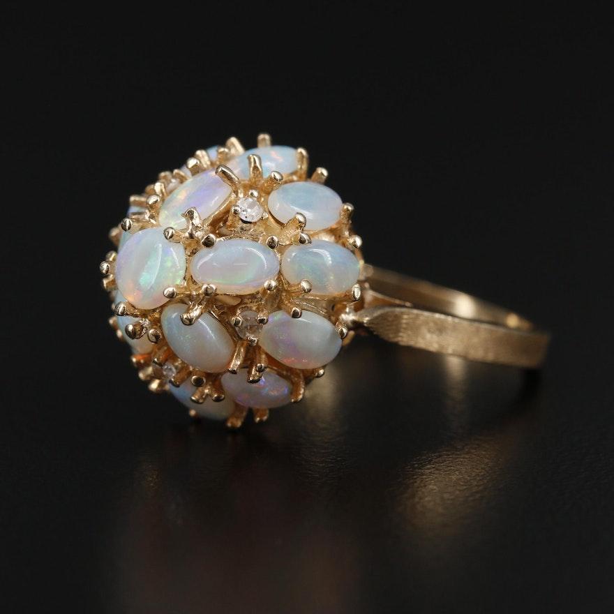 14K Opal and Diamond Princess Ring
