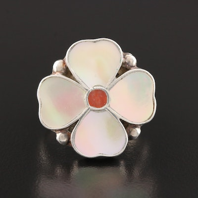 Southwestern Sterling Silver Mother Of Pearl and Carnelian Inlay Floral Ring