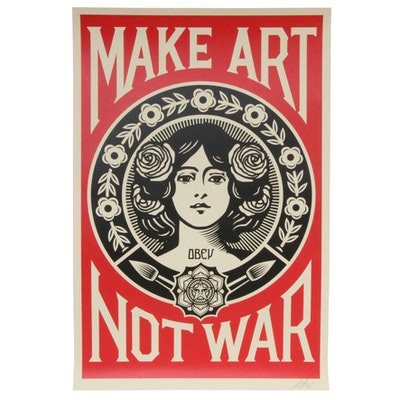 """Shepard Fairey Offset Print """"Make Art Not War,"""" 2020"""