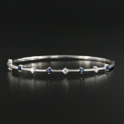 18K White Gold Sapphire and Diamond Bracelet with Matte Finish