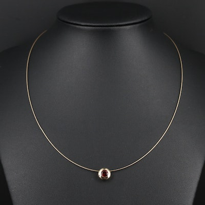 14K Garnet Pendant Necklace