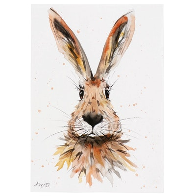 Anne Gorywine Watercolor Painting of Rabbit