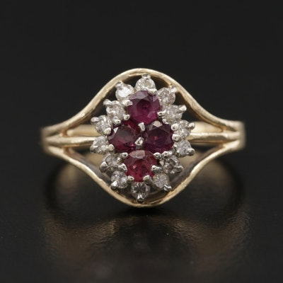 10K and 14K Yellow Gold Ruby and Diamond Ring
