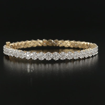 14K Yellow Gold 6.04 CTW Diamond Cluster Hinged Bracelet