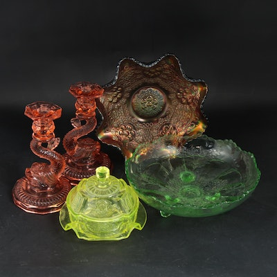 Fenton, Cambridge and Other Vaseline, Depression and Carnival Glass