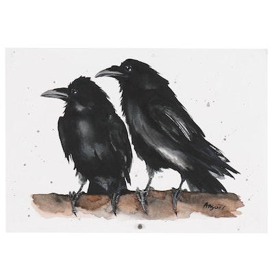 Anne Gorywine Watercolor Painting of Two Ravens on Tree Branch