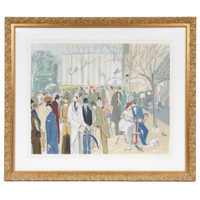 Isaac Maimon Gouache-Embellished Color Lithograph of Parisian Street Scene