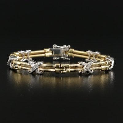 18K Yellow Gold Diamond Bracelet with Sliding White Gold Accents