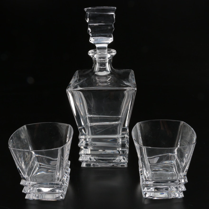 Cut Crystal Decanter with Matching Rocks Glasses