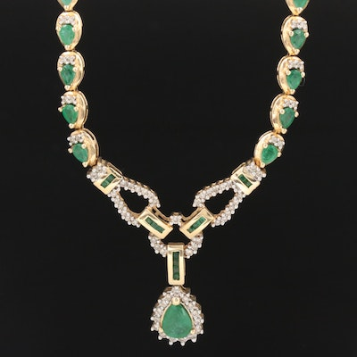 14K Yellow Gold Emerald and 1.25 CTW Diamond Necklace
