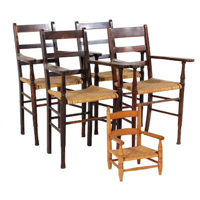 Four Primitive Style Ladderback Counter-Height Stools Plus Child's Armchair