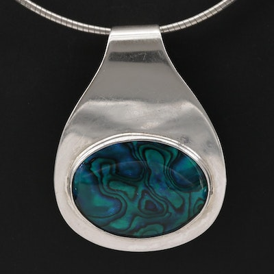 Karen Joyce Silpada Sterling Abalone and Resin Doublet Pendant Necklace