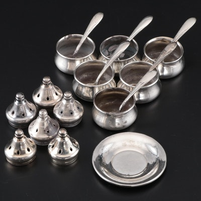 Sterling Silver Individual Salt Cellars and Spoons, Butter Pat, and Shaker Tops
