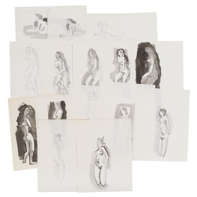 John A. Begg Ink Figure Study Progression Drawings