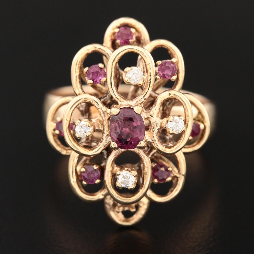 14K Yellow Gold Layered Ruby and Diamond Ring