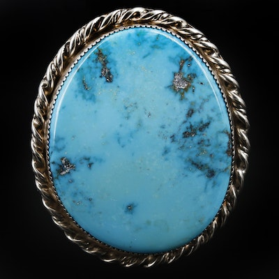 Southwestern Style Sterling Silver Turquoise Slide Pendant