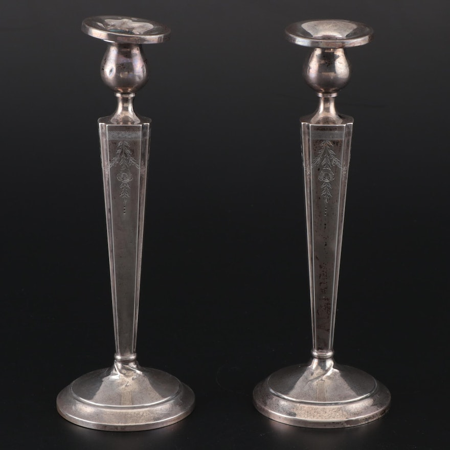 American Weighted Sterling Silver Candlesticks, Mid-Century