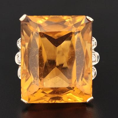 14K Yellow Gold 66.00 CT Citrine and Diamond Statement Ring