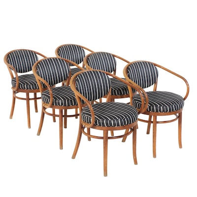 Striped Upholstered Round Back Dining Chairs, Mid to Late 20th Century