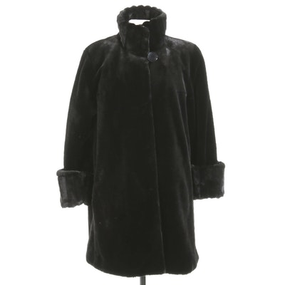 Nuage Black Sculpted Faux Fur Stroller Coat