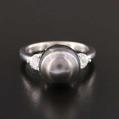 14K White Gold Cultured Pearl and Swarovski Crystal Ring