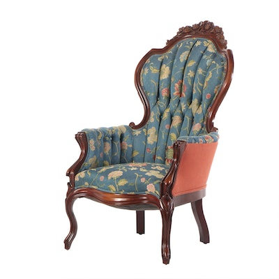 Victorian Walnut Upholstered Arm Chair, Late 19th Century