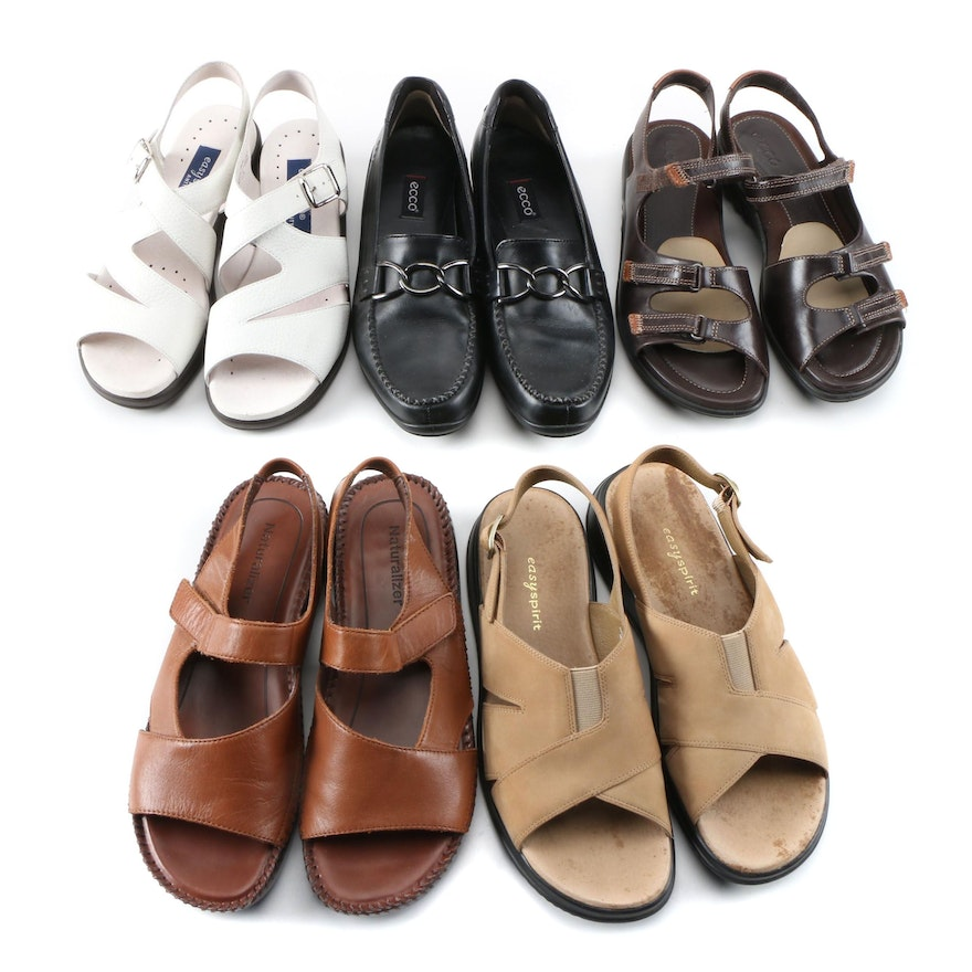 Easy Spirit, Ecco and Naturalizer Leather Sandals and Loafers