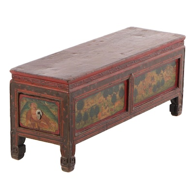 Chinese Paint-Decorated Bench with Side Drawer, Early to Mid 20th Century