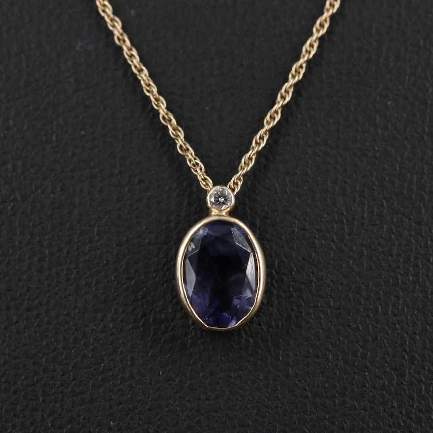 14K Yellow Gold Bezel Set Iolite Pendant Necklace with Diamond Accent