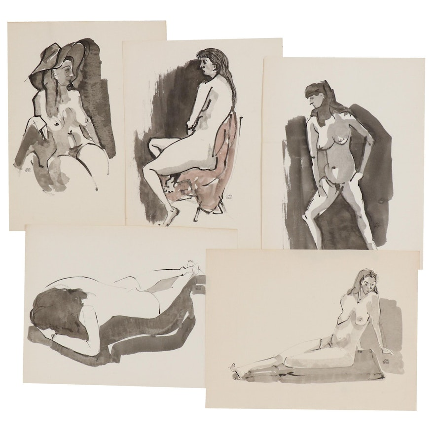 John A. Begg Inkwash Figure Studies, Mid to Late 20th Century