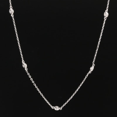 14K White Gold Diamond Station Necklace