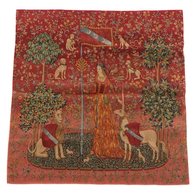 """Screen-Printed Wall Hanging after """"The Lady and the Unicorn: Touch"""""""