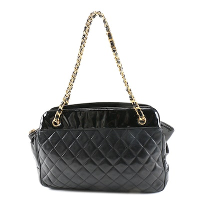 Chanel Matelassé Quilted Black Lambskin and Patent Leather Shoulder Bag