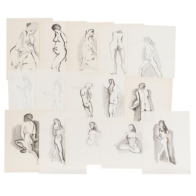 John A. Begg India Ink Nude Figure Studies, Mid 20th Century