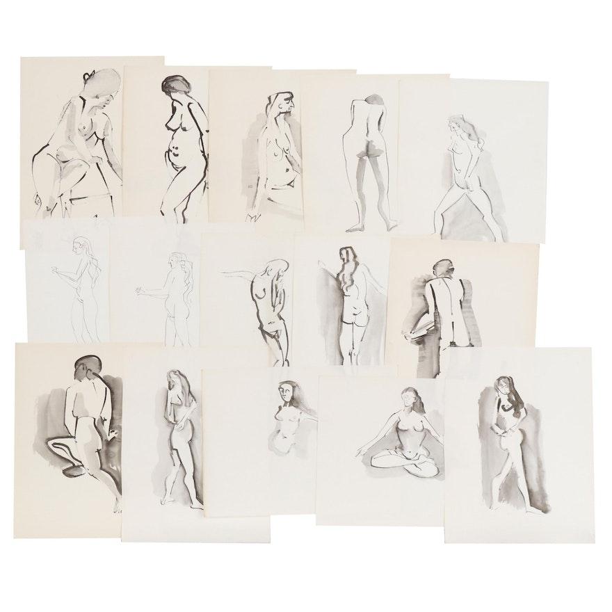 John A. Begg India Ink Nude Figure Studies, Mid 20th Century
