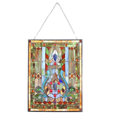 Jeweled Stained Glass Window Panel