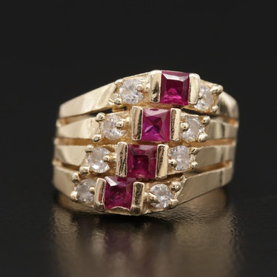 14K Yellow Gold Synthetic Ruby and Cubic Zirconia Ring