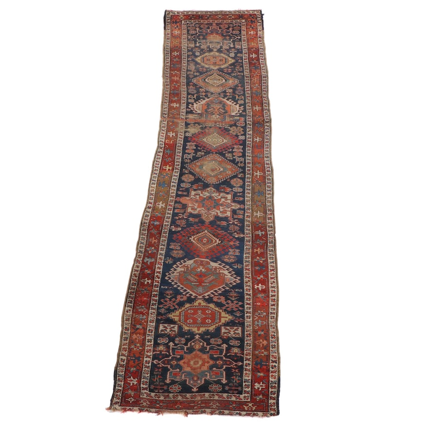 3'7 x 13'9 Hand-Knotted Persian Karaja Wool Long Rug