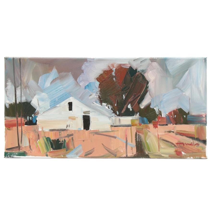 "Jose Trujillo Landscape Oil Painting ""The Horse Barn,"" 2019"
