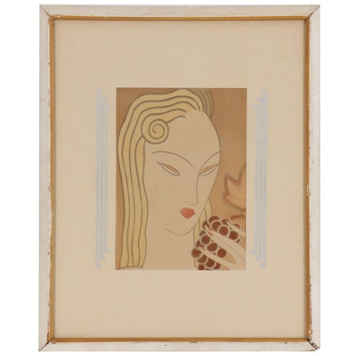 Collotype of Art Deco Style Portrait of Woman