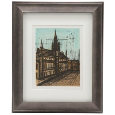 "Color Lithograph after Bernard Buffet ""Brussels Town Hall,"" 1967"