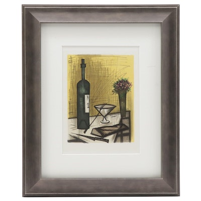 "Color Lithograph after Bernard Buffet ""Bread and Wine,"" 1967"