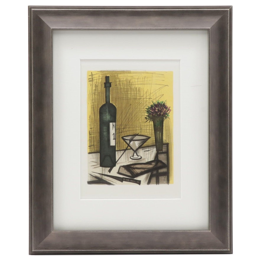 """Color Lithograph after Bernard Buffet """"Bread and Wine,"""" 1967"""