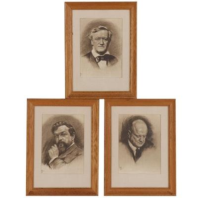 Rotogravures after Louis Lupas Male Portrait Drawings