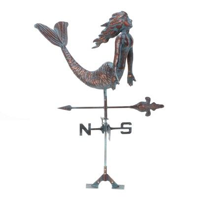 Handcrafted Copper Mermaid Weather Vane