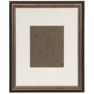 "Linoleum Cut Designed by Pablo Picasso ""Picador, Woman & Horse,"" 1962"